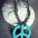 micro macrame peace necklace with s..