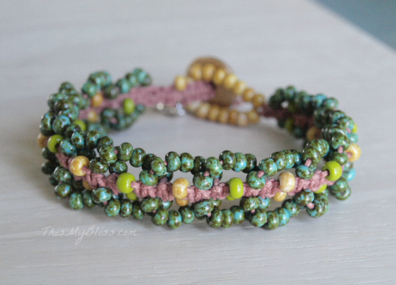 beaded macrame bracelet ~ handmade ~ unique