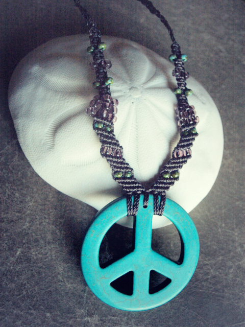 micro macrame peace necklace with stone pendant